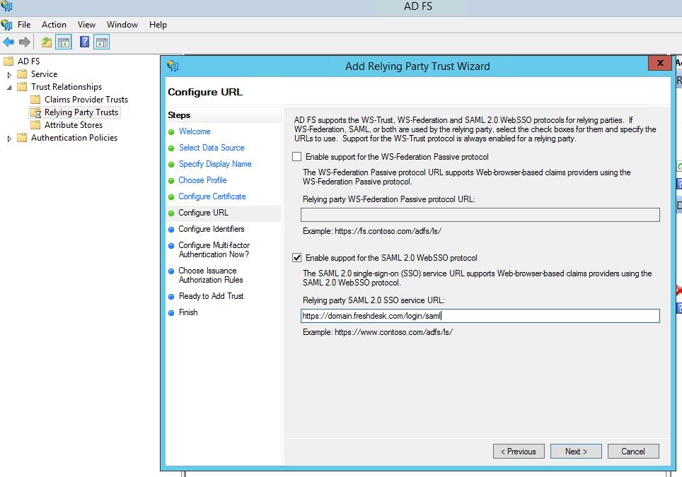 Configuring ADFS SAML for Freshdesk : Freshdesk