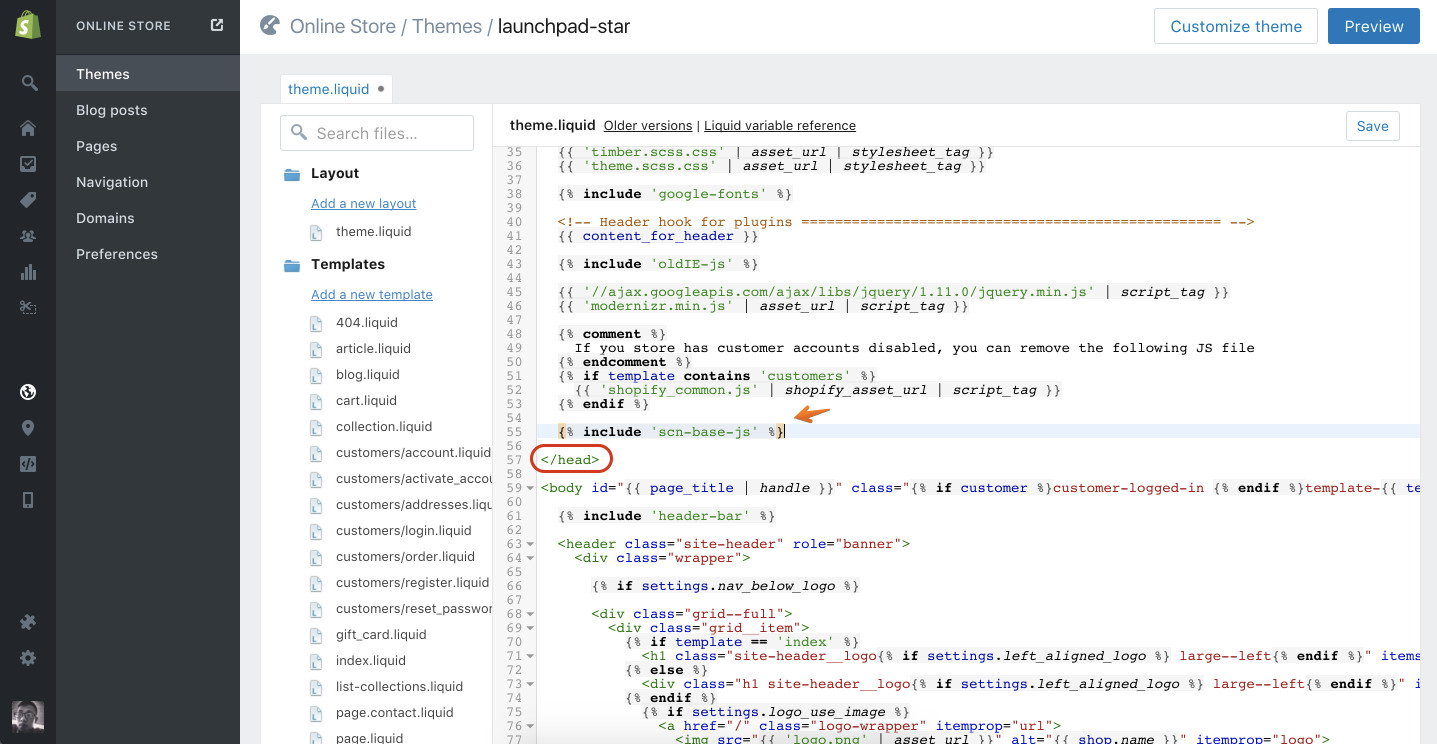 Add Beeketing scripts into your theme's header
