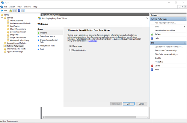 Configuring the SAML IdP with Active Directory Federation
