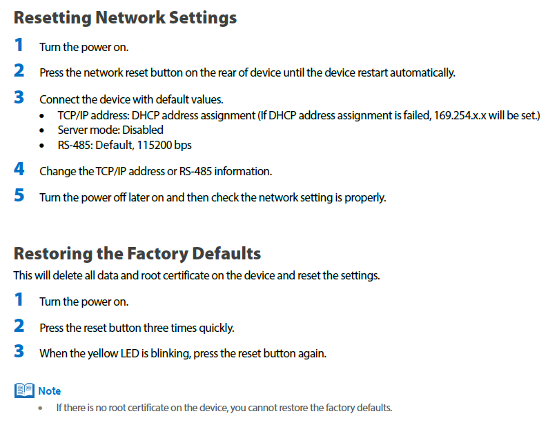 Both BioStar] Network and Factory Default W2, P2
