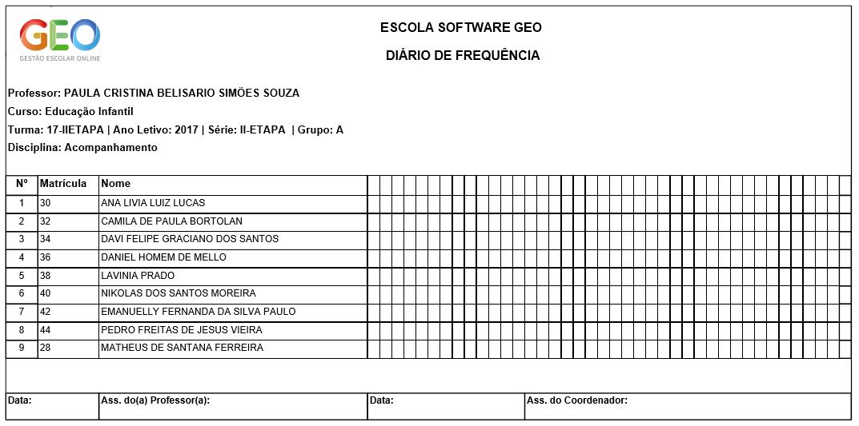 Diário de Classe - Software GEO - Gestão Escolar Online