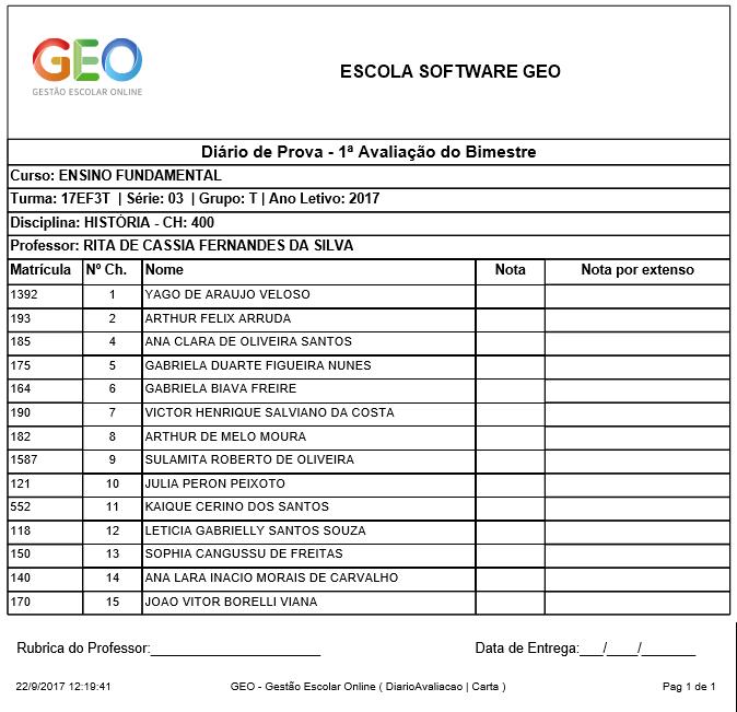 Diário Avaliação - Software GEO - Gestão Escolar Online