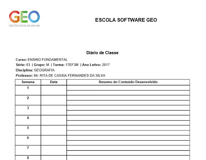 Diário de Conteúdo Programático - Software GEO - Gestão Escolar Online