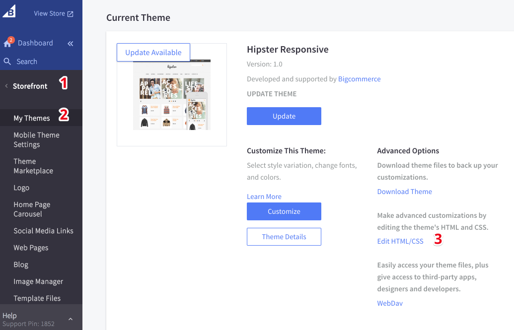 Edit theme in BigCommerce store