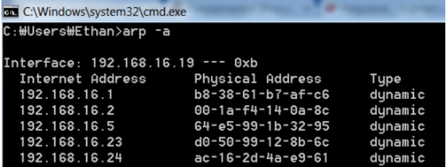 command to find out mac address