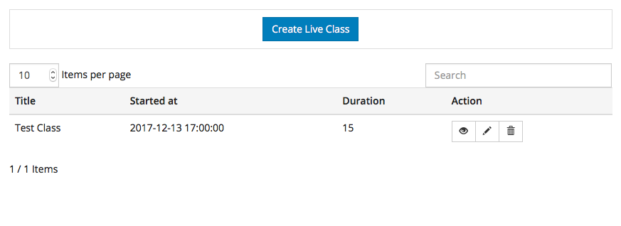 Manage Live Classes view