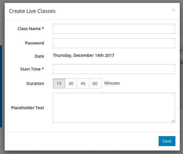 Create Live Class modal