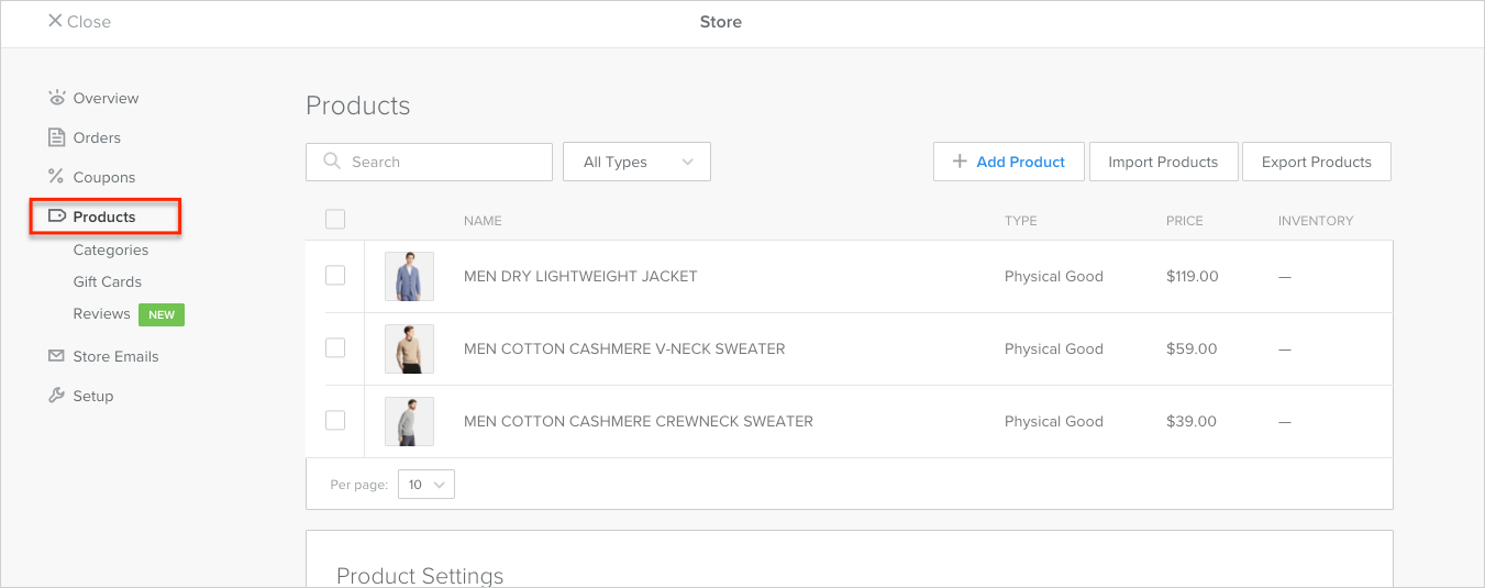 Product management in Weebly