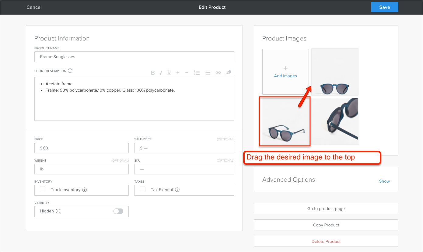 Upload images for a product