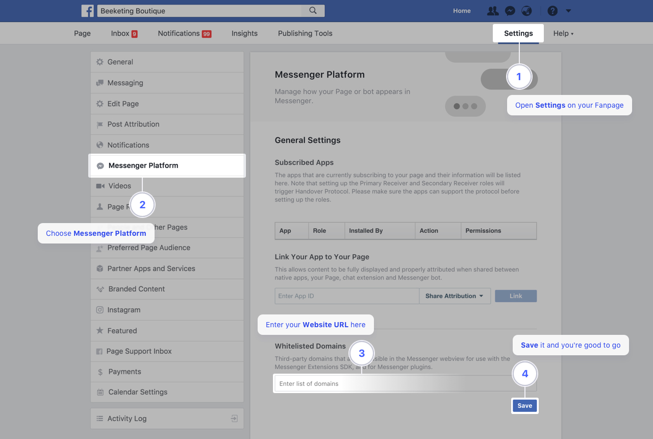 Quick Facebook Chat - Whitelist your domains