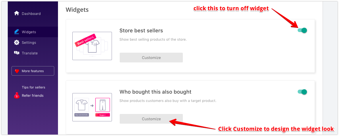 Personalized Recomendation widgets