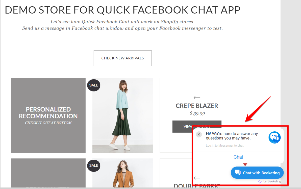 Quick Facebook Chat on your store
