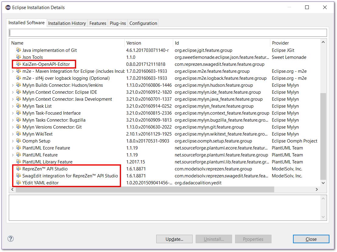 How can I Uninstall API Studio for Eclipse? : RepreZen API
