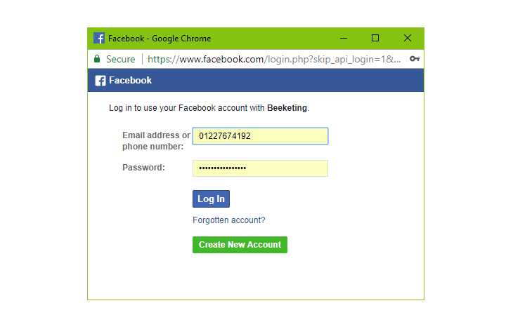 Quick Facebook Chat - Enter credentials