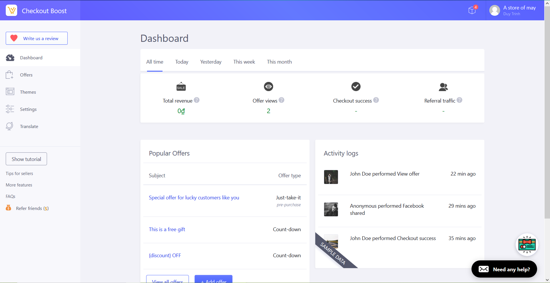 Checkout Boost - Dashboard