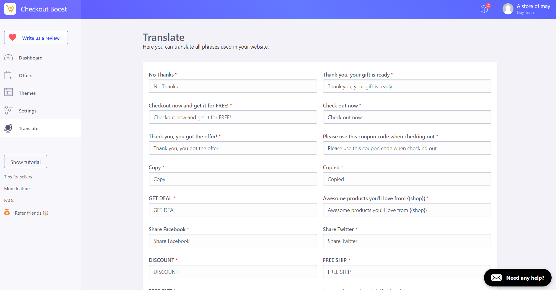 Checkout Boost - Translate