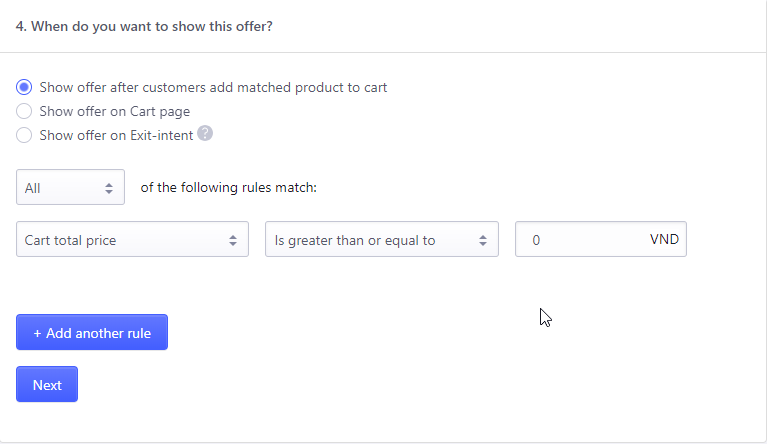 Settings rules for customers to get offers