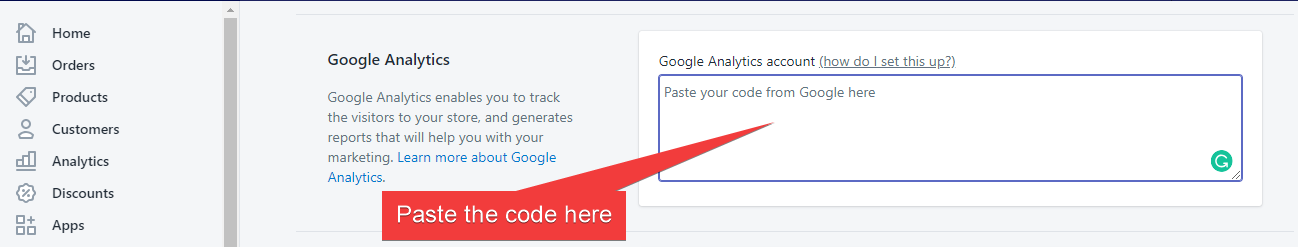 Past the code in Google Analytics