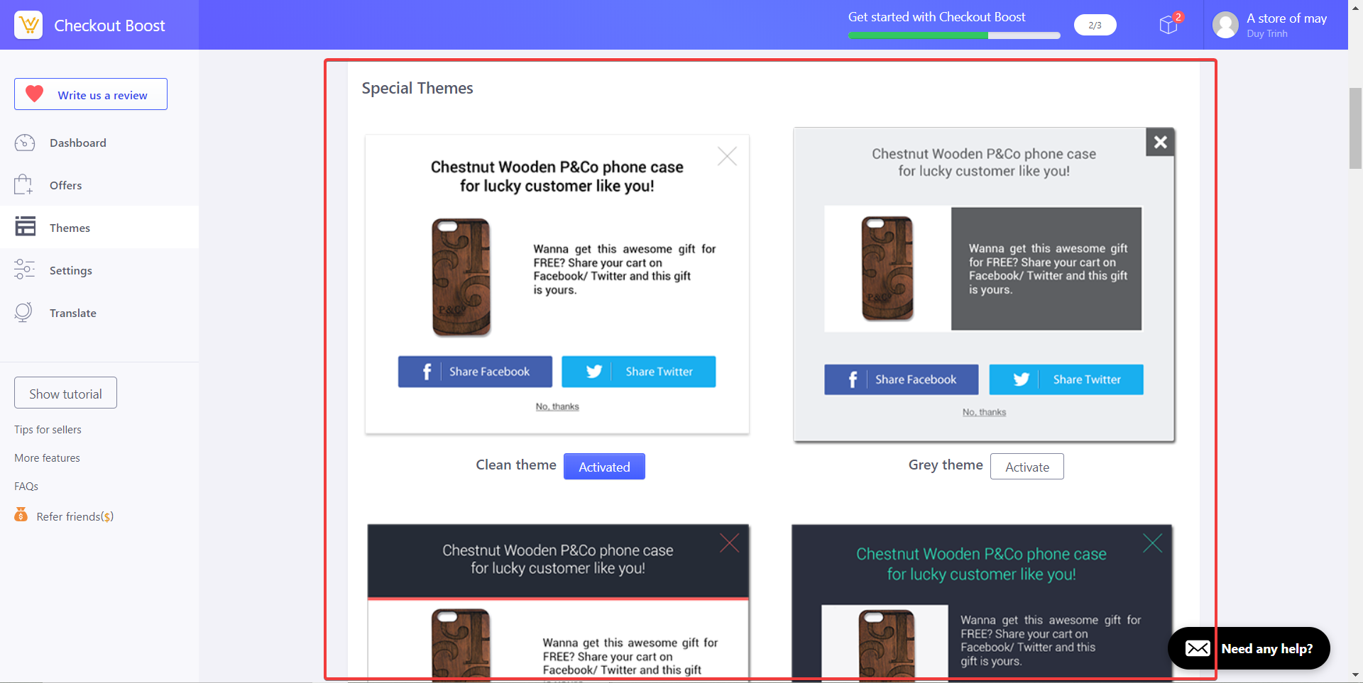 Checkout Boost special theme