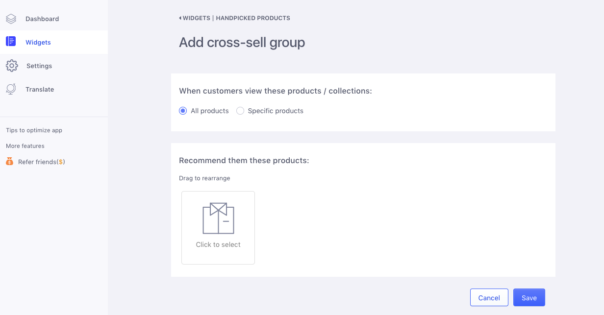 Handpicked Product Settings
