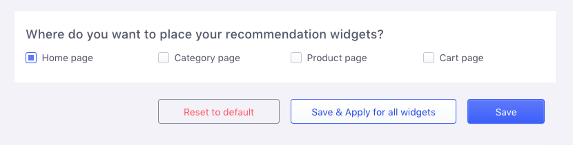 Placing recommendation widget