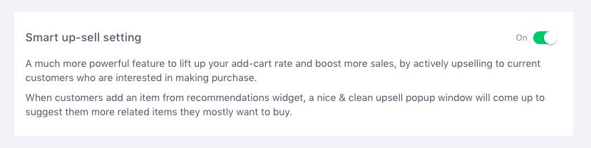 Smart up-sell settings