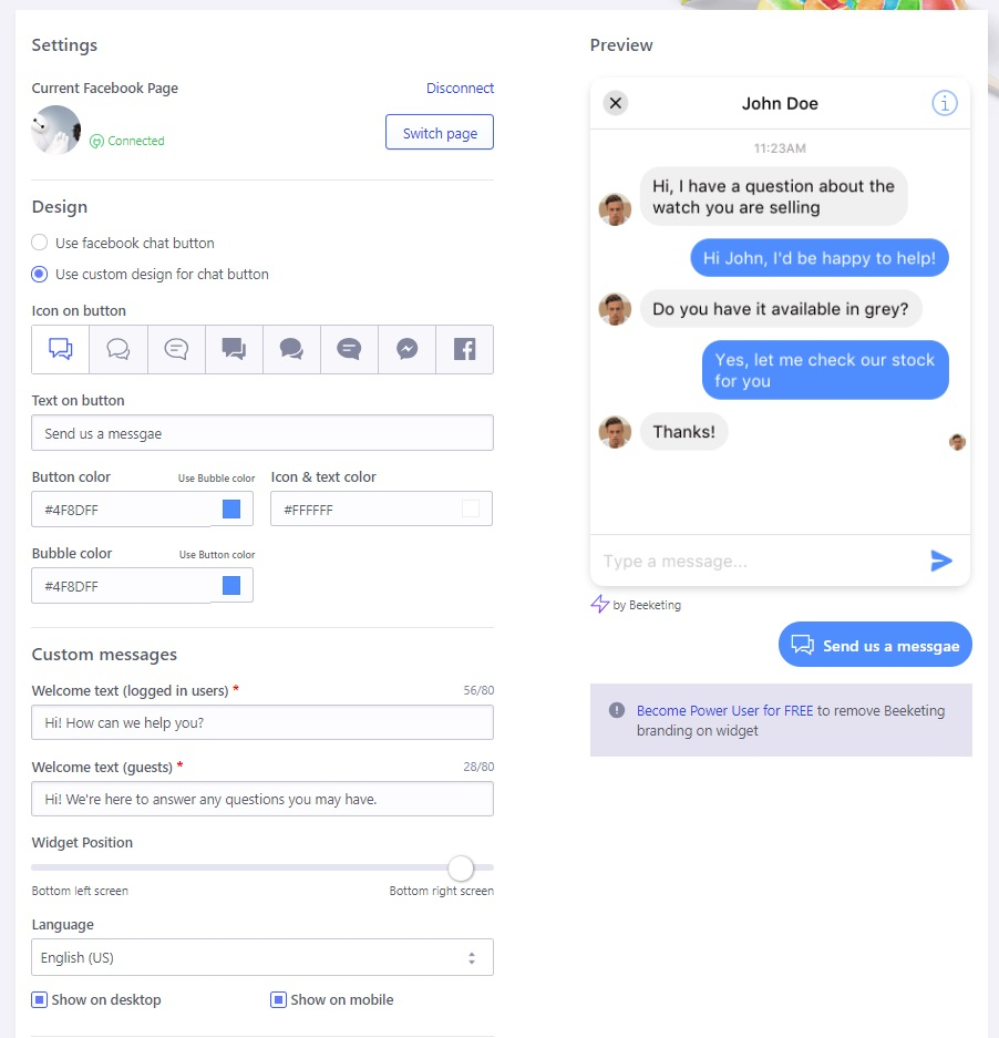 Quick Facebook Chat - Page connected successfully