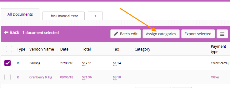 How do I assign categories to receipts? (Digit UI only