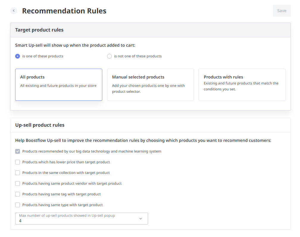 Recommendation rules