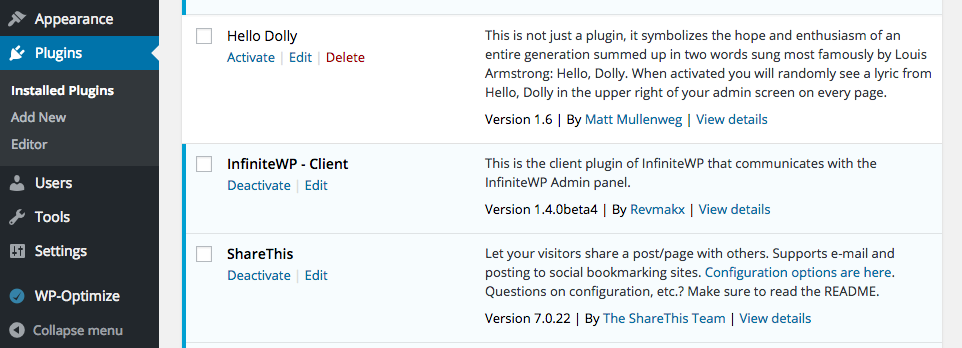 How will my WP dashboard look after setting up the Client Plugin