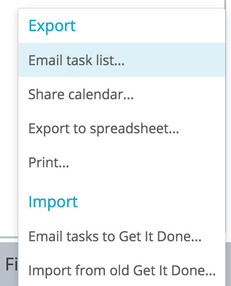 Email task list out of Get It Done app