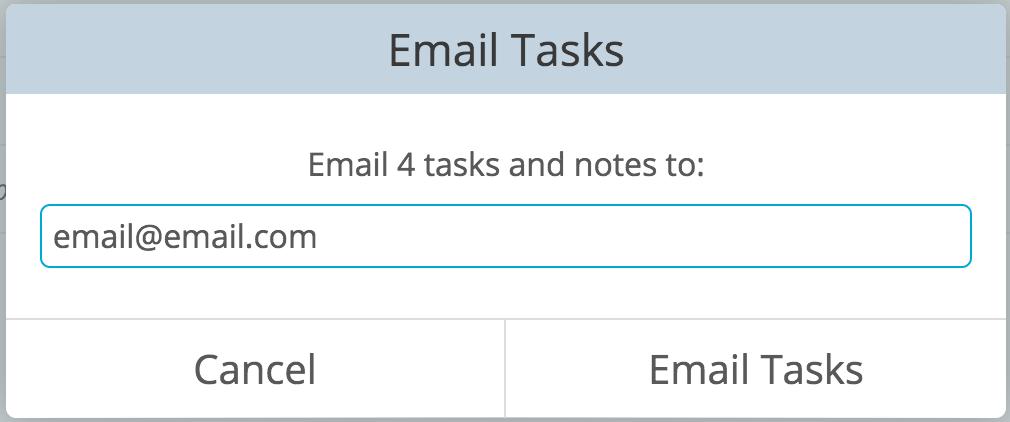 Email tasks dialog