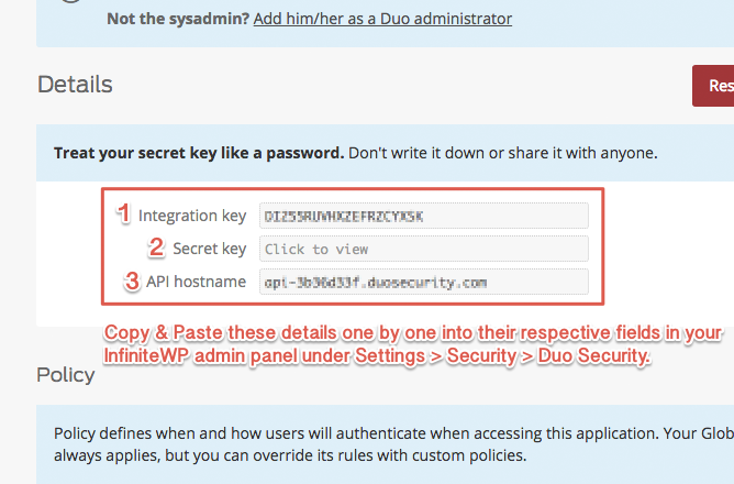 How to integrate Duo Security to your admin panel : InfiniteWP Support