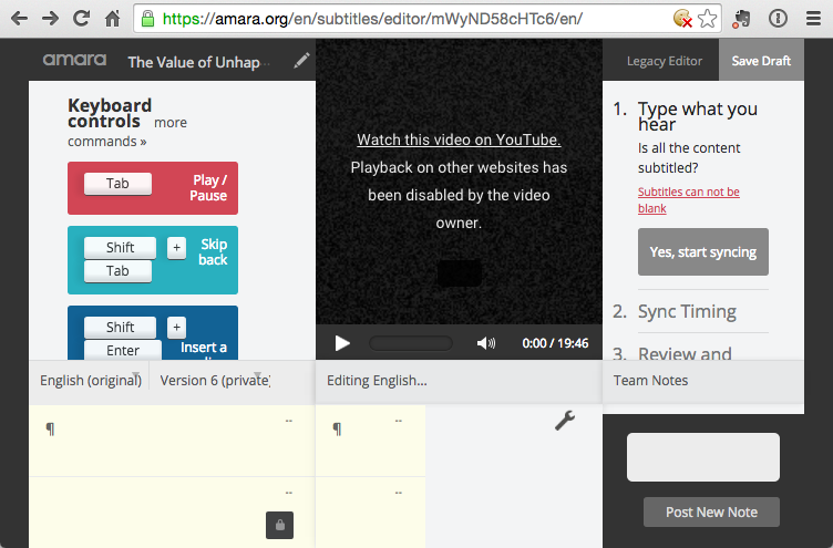 Help! Amara Editor Won't Load or Play YouTube-Only TEDx Talk