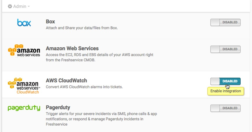 Using the CloudWatch integration in Freshservice : freshservice