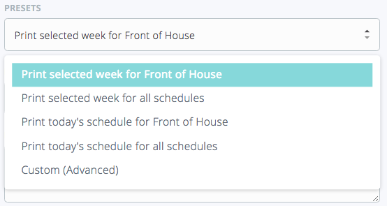 printing a schedule support