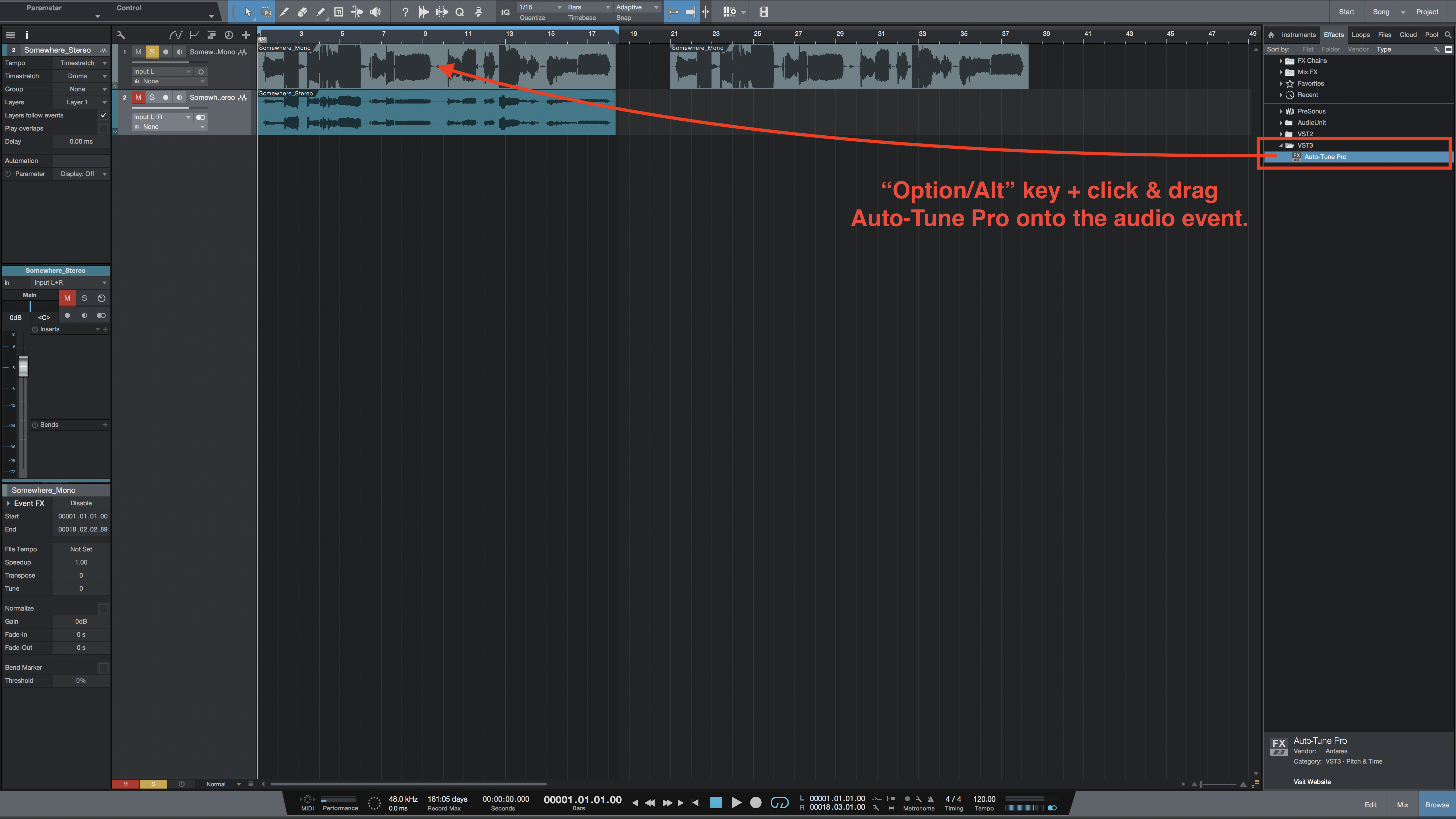 How to insert Auto-Tune Pro as an ARA plug-in in Studio One 3