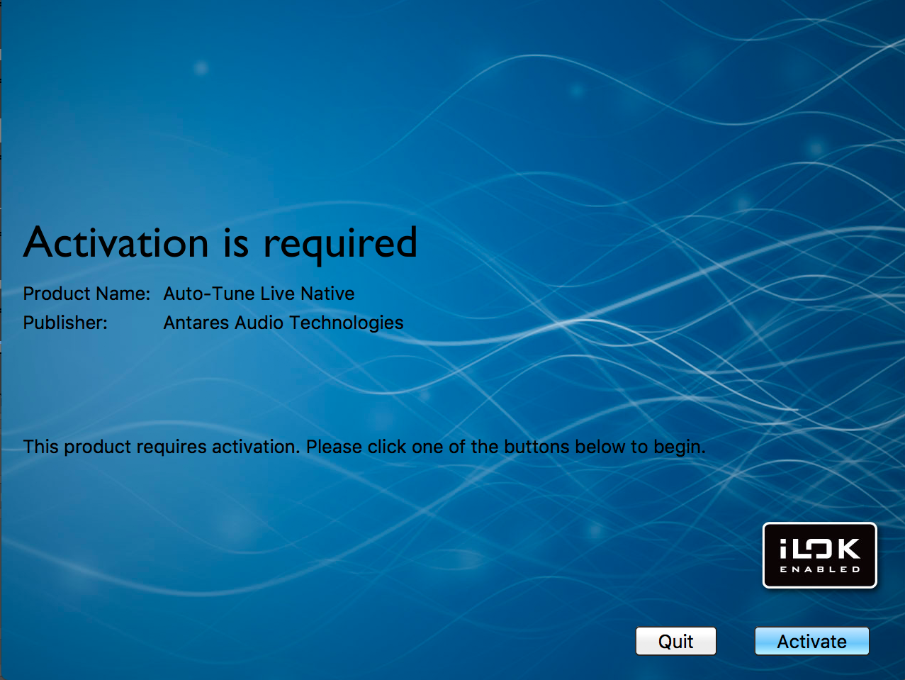 iLok Activation is required screen