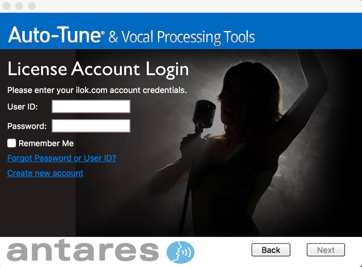 iLok License Account Login Screen