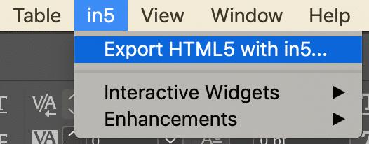 in5 export menu option