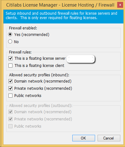 Firewall settings for floating license : Citilabs