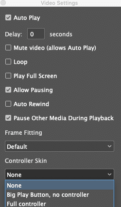 the in5 Video widget panel