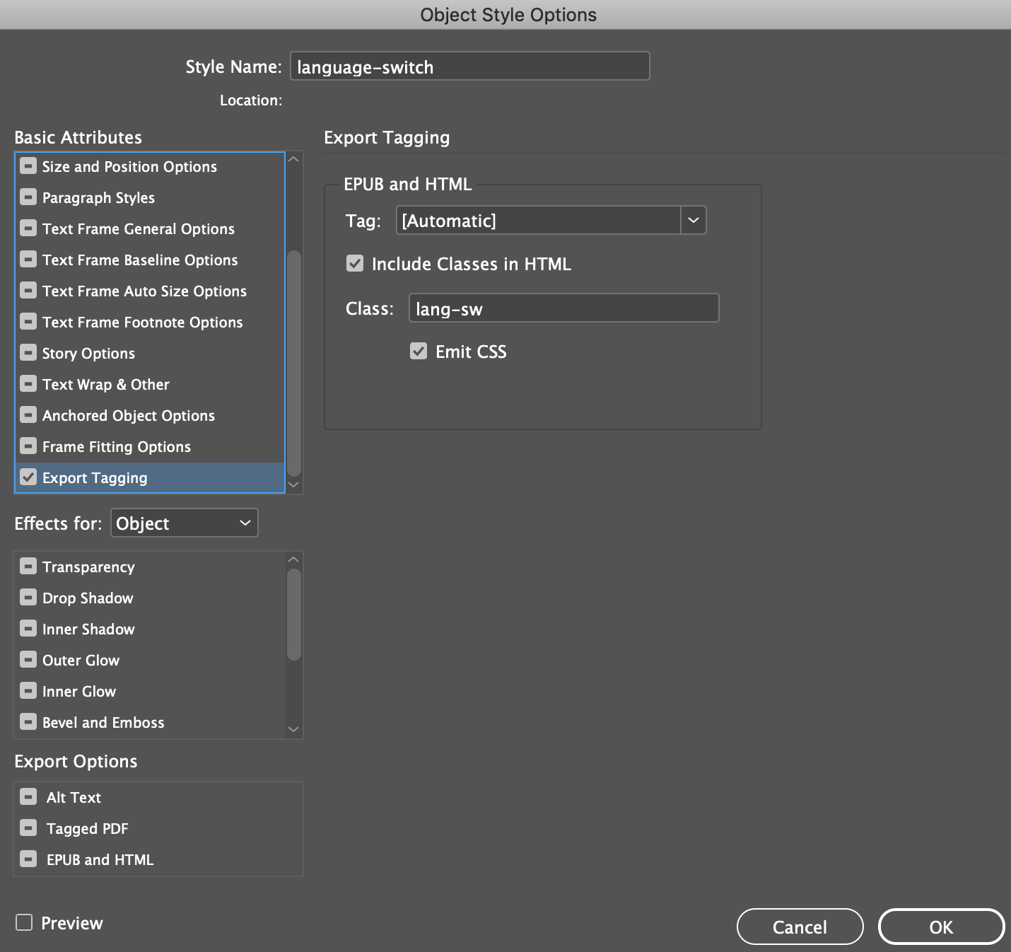 Object Style settings with export tagging