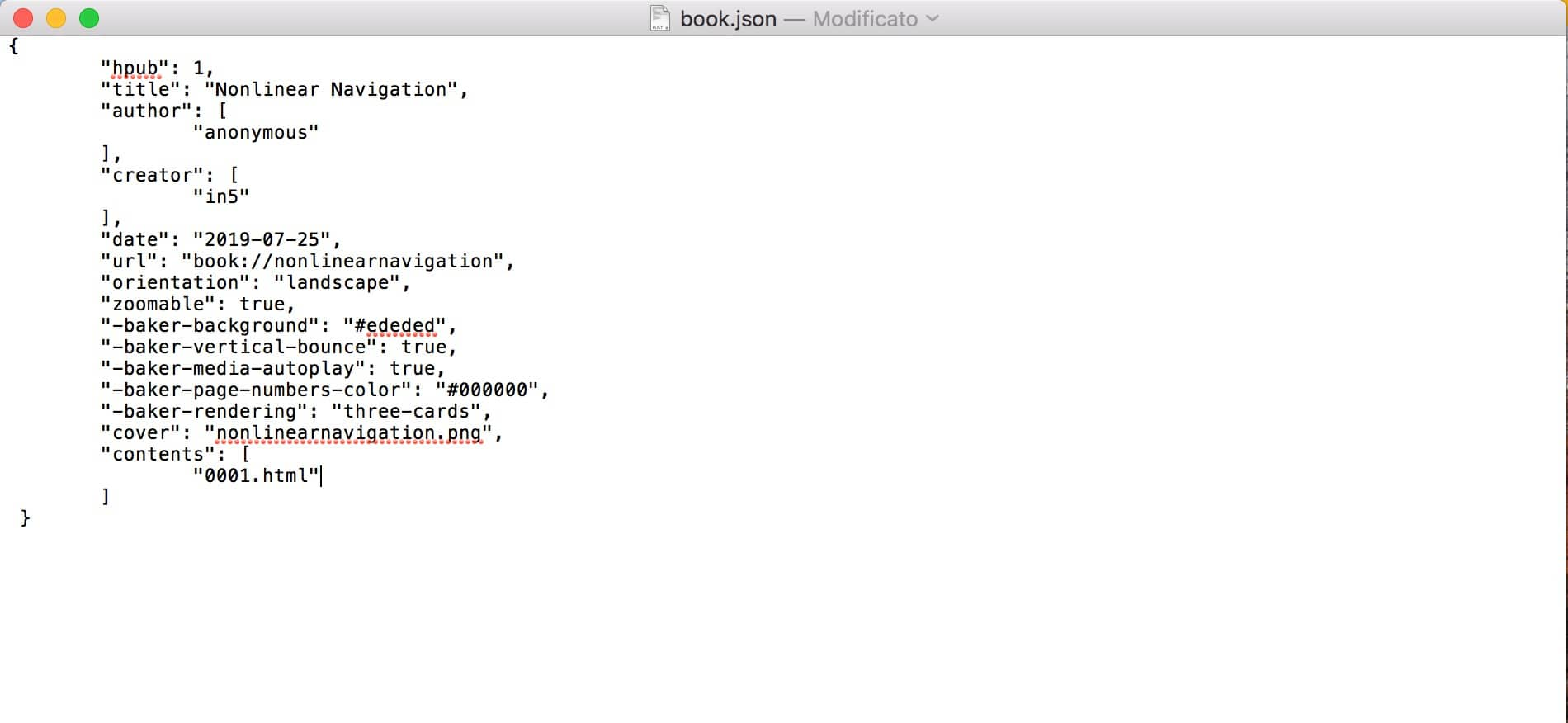 modified JSON with pages removed
