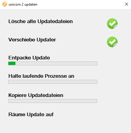 Das Bild zeigt den Aktualisierungsvorgang von unicorn 2.