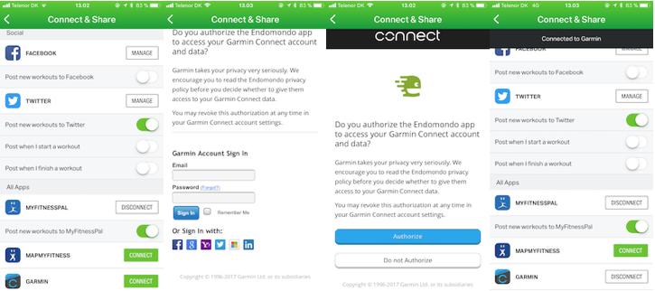 Garmin Connect - подключение к сайту Endomondo