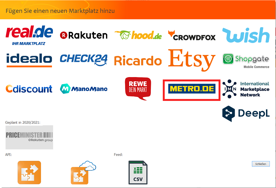 Das Bild zeigt die Anbindung von METRO Online-Marktplatz in unicorn 2.