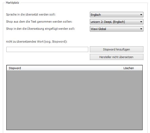 Das Bild zeigt die Spracheinstellung für DeepL in unicorn 2.