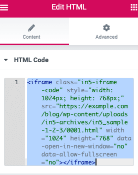 The HTML in Elementor