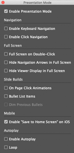presentation mode panel with Save to Home Screen option set